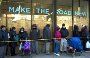Hundreds waited in line in early January at the Make The Road New Center on Roosevelt Avenue in Jackson Heights, Queens.